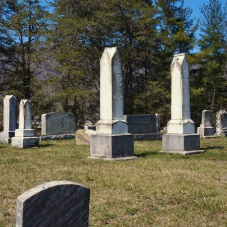 Historic grave markers at Bethel Community Cemetery in Haywood County, NC. Historic records are searchable online.