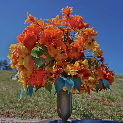 Flowers at Bethel Community Cemetery in Haywood County, NC.